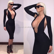 2016 High Quality Best Price fashion sexy backless bandage dress elegant evening dress