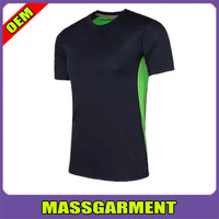 Gym shirt mens short sleeve round collar t shirt elastic fitness training t shirt dry fit 90% polyester
