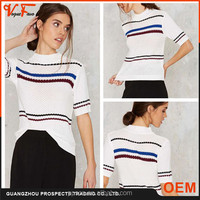China Factory Ladies Elegant white color Casual Fashion Korean Sweater for women