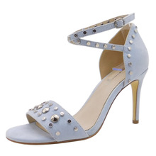 OEM and ODM Modern UK Rubber Micro Fiber Blue Women open toe studded ankle wrap strap high heel sandal