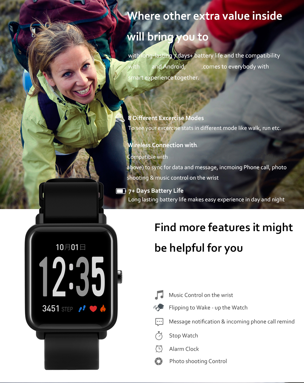 PROMOTION!! Customized IP67 waterproof blood pressure and heart rate monitor smartwatch