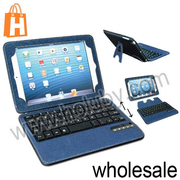 Bluetooth 3.0 Mini Keyboard+Magnetic Detachable PU Leather Case for iPad Mini Retina iPad Mini with Stand