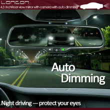 Wide angle auto dimming car rearview mirror monitor