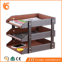 High Quality Wood 3 Tier Desk Organizer Document File Tray