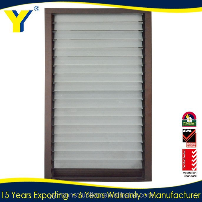Australian standard adjustable Glass Louvres Aluminum Sun Louvers/glass louvre windows with obscured glass