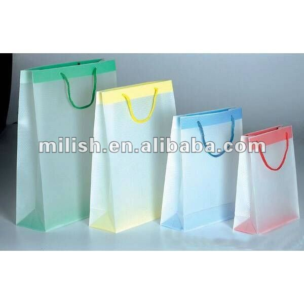 M021 Custom made Transparent frosted PP gift plastic shopping bag