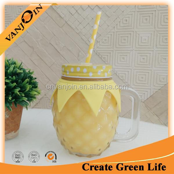 Hot Ice Cold Drink Glass Pineapple Mason Jars With Handle And Straw