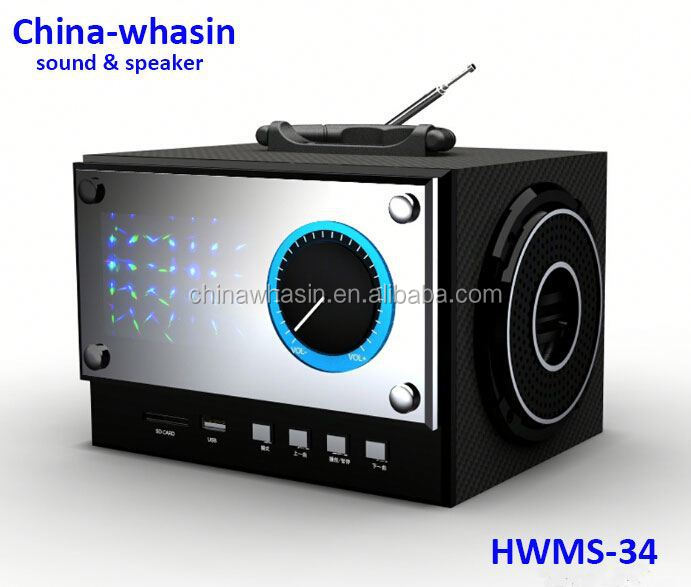 Hot Sale Multimedia LED U-Disk FM Radio Mobile Portable wooden passive speaker