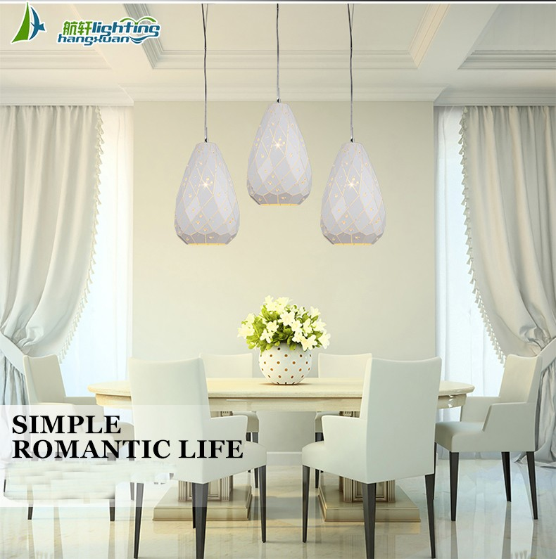Pendant light modern iron in rose gold with clear crystal HXP2013A-1RG