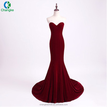 2018 New Strapless Long Train Wine Red Velvet Mermaid Prom Dress