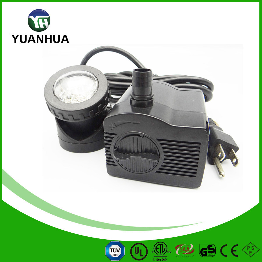 320 GPH Auto Shut off Submersible Pond Pump with spotlights