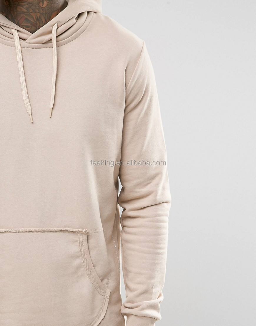 wholesale new design raw hem curved hem hoodie