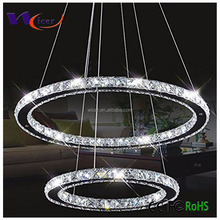 2 Rings steel chandelier modern luxury K9 crystal led circle pendant light/ lamp