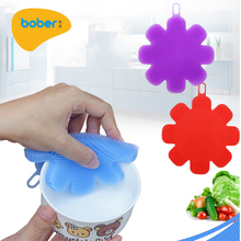 Customized Multipurpose Antibacterial Silicone Dish Scrubber Silicone Dish Sponge Brush for Kitchen Cleaning