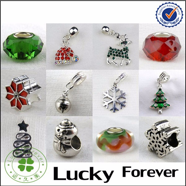 Set of 12 Christmas Charms,Snowflake Charms, Christmas Tree Charms Suitable for Necklaces