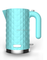 best selling 1.7L dimond plastic electric water kettle made in china with CE, CB, ROHS, EMC, GS, LFGB