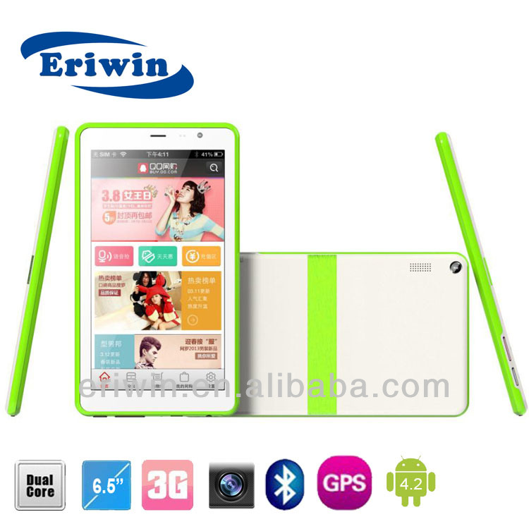 Phone Call Tablet 6.5inch 3G GPS GSM MTK 6572 512MB DDR3 android 4.2 Bluetooth FM dual SIM card tablet