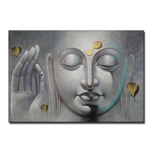 Newest Handmade Art Buddha Face Oil Painting On Canvas