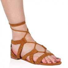 Custom made Brown sexy Girls comfort lace up strappy flat sandal roman style