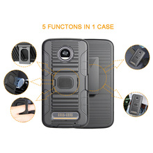 3 in 1 tpu pc robot holster belt clip combo phone case for Motorola moto E4 with kickstand