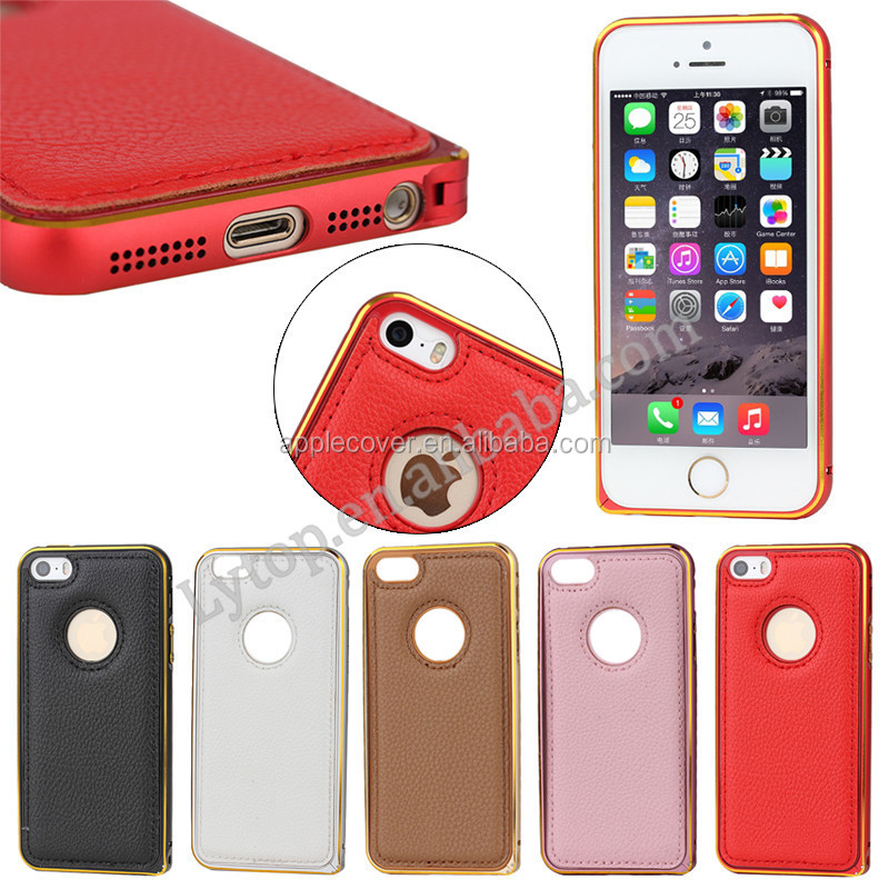 Hot selling Lichi Leather case with metal bumper for iPhone 5/5s , for iPhone5 case cover