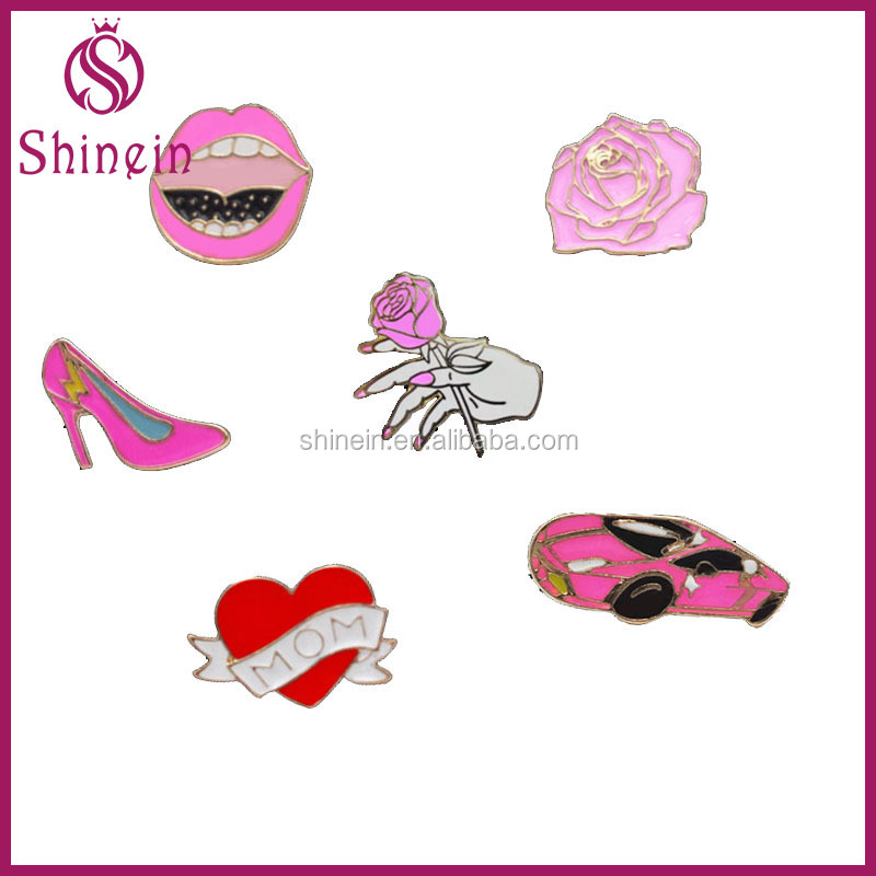 Whosale high-heeled shoes collar pin lip rose enamel lapel pins