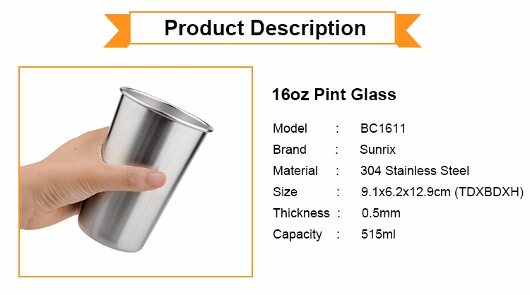 16Oz Stainless Steel Cup, Stackable stainless steel pint cup, Camping Drinking cup
