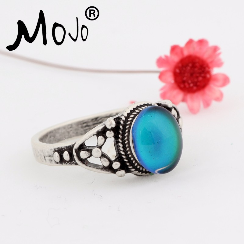 Factory Wholesale Antique Sterling Silver Plated High Quality Mood Ring for Sale Women Oval Magic Mood Stones