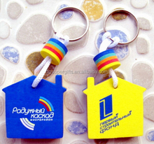 House shape with printed logo eva key rings chains for promotion customized