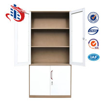 Commercial Unassembled Office Furniture Up Glass Door Steel File Cabinets