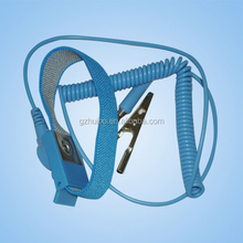 Blue ESD Wired Wrist Strap with Grounding Coiled Cord