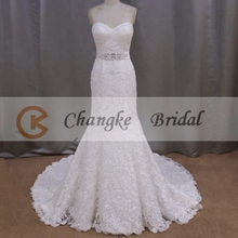 Elegant Sweetheart Sleeveless Long Wedding Dress With Long Train