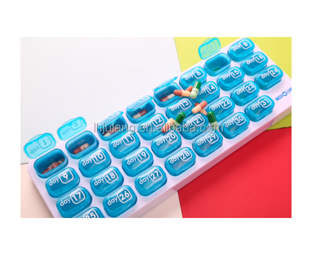 Useful plastic cute pill box bins month/plastic pill case pill organizer/pill Use and tablet box