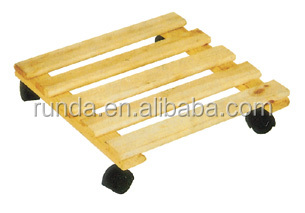 hardwood 4 wheels moving wooden plant dolly