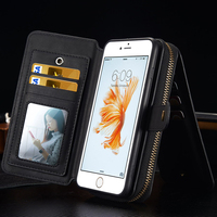 durable multifunctional portable real leather wallet cover case with mirror for iphone 5 6 6s