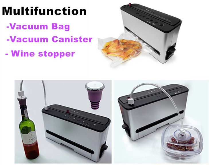 2017 New Style Household Vertically Stand Style Home Kitchen Appliance Food Saver Plastic Bag Container Vacumm Sealer