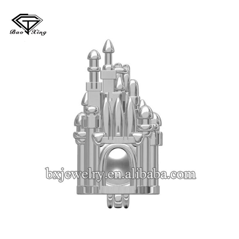 Source manufacturer fashion charm 925 sterling silver castle cage pendant