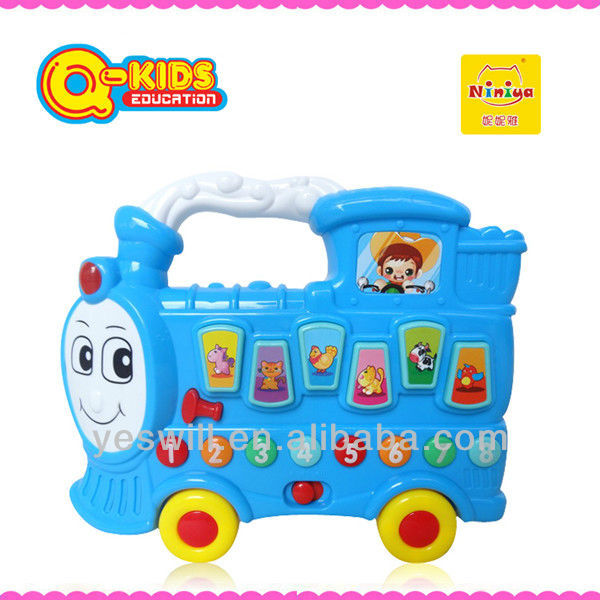Q-KIDS educational funny plastic musical train toys educational toy