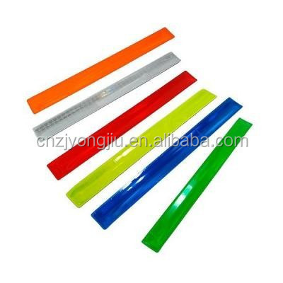 2016new style plastic polyester safety Reflective ruler slap bracelet hot sale