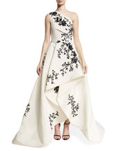 Elegent One Shoulder Black And White Evening Gowns With Floral Embroidered faille