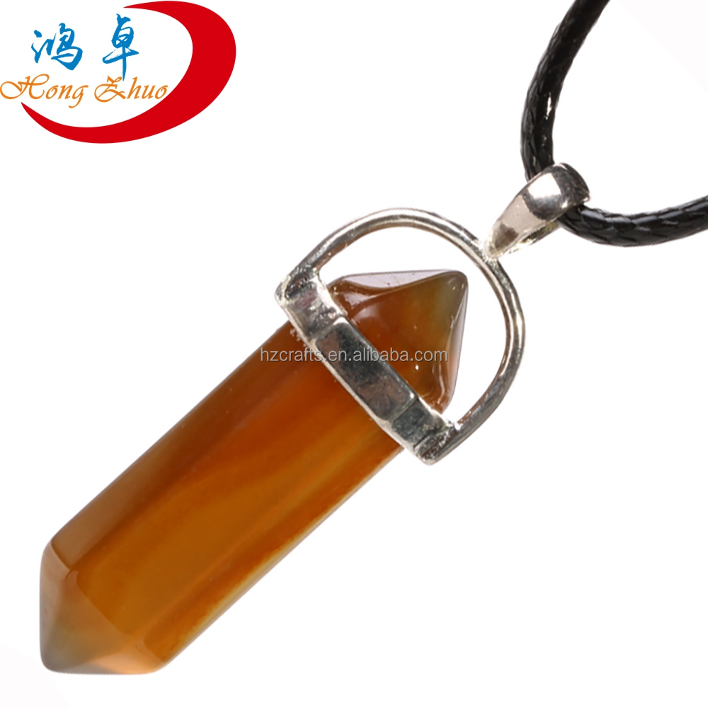 Multi Color Quartz Women Jewelry Accessories Shape Crystal Fashion Natural Stone Bullet Necklace Pendants