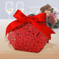 Laser cut decorate red wedding favor candy boxes ribbon 5*3*3 cm butterfly wedding gift box