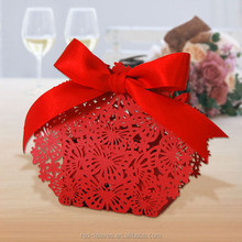 Laser cut decorate red wedding favor candy boxes ribbbon 5*3*3cm butterfly favor boxes