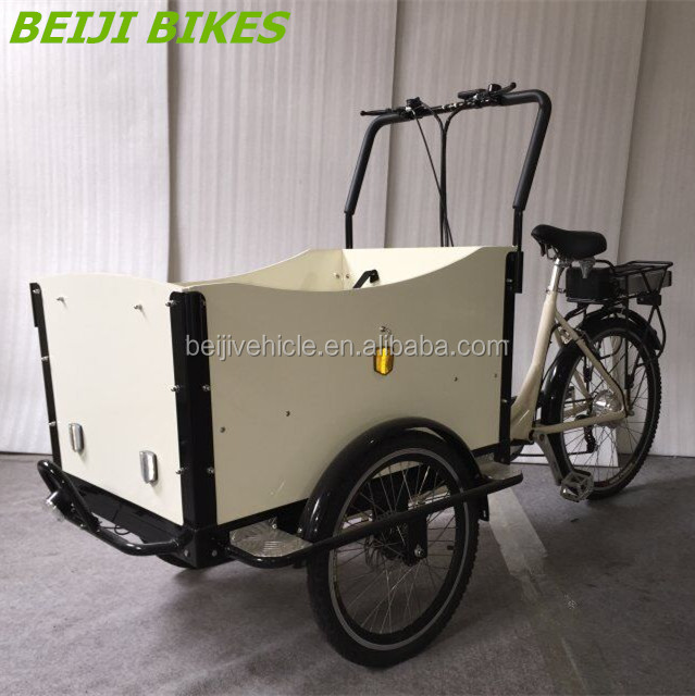 Dutch style cargo electric tricycle,three wheel cargo bike rain cover