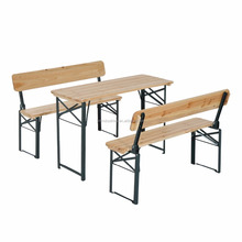 4' Wooden Folding Picnic Table Set w/ Benches
