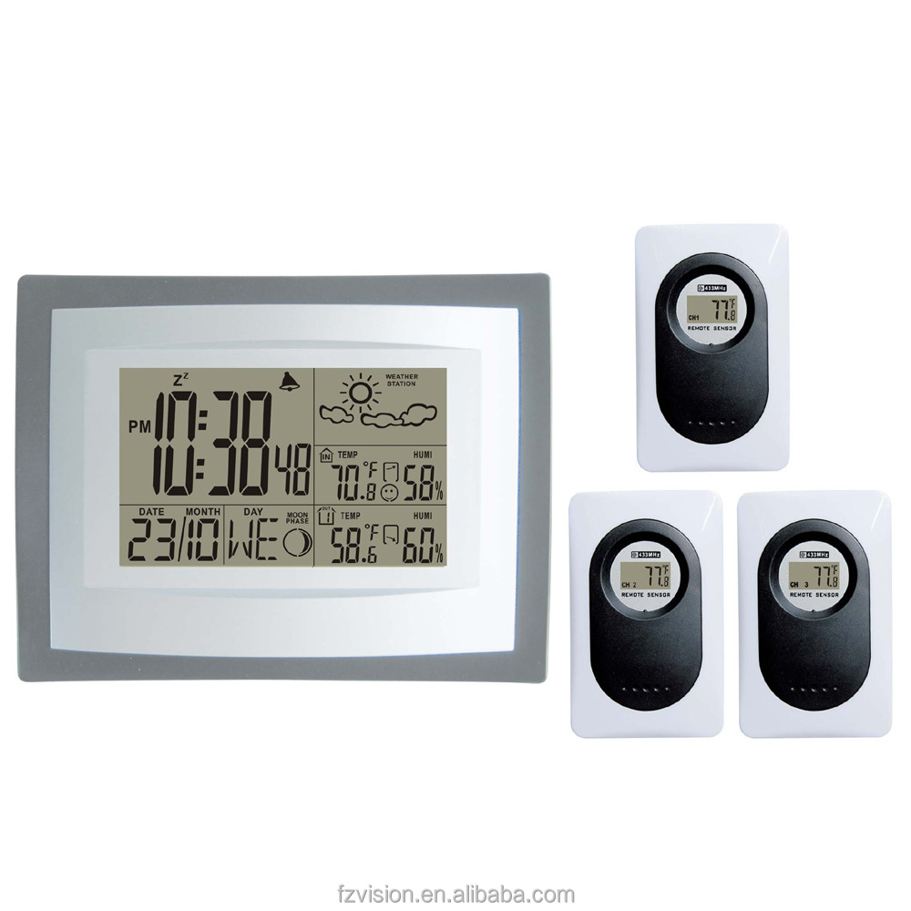 Wireless Weather Station with 3 Sensors , Wall/Table Clock Weather Station, Weather Station hygrometer as a gift