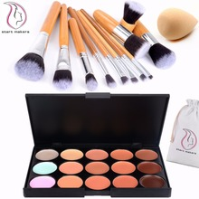 15 Colors Ultra Contour Palette Kit - 11pcs Professional Bamboo Makeup Brushes - Cosmetics Cream Contour and High