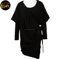 ISO9001 BSCI Fashion Elegant Pleat Black T shirt Dress