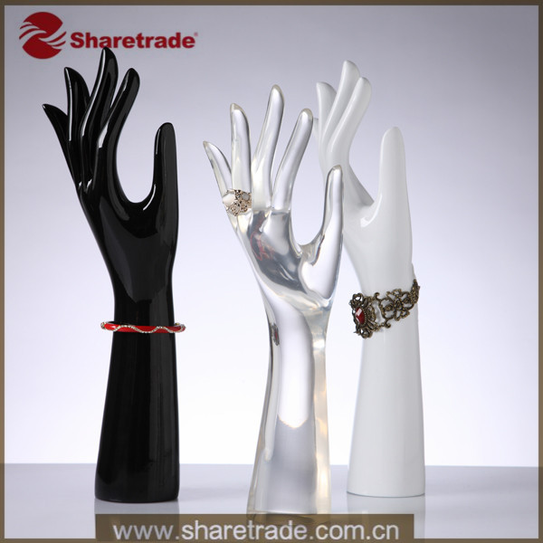 2014 New Feminine Designer Hand Forms Clear Unique Acrylic Ring Display Holder Mannequin