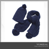 Fashionable 2015 new design women knitted hat scarf set